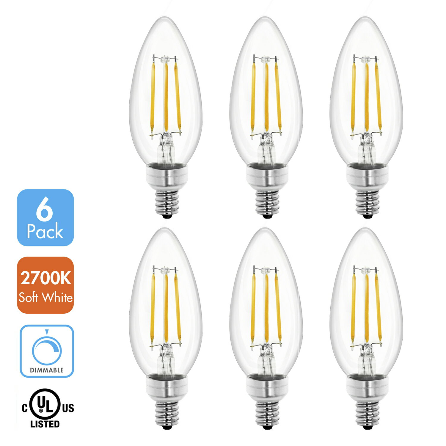 Tenergy Dimmable Candelabra Led Bulbs 4w 40 Watt Equivalent E12 400lm Warm White 2700k B11 Chandelier Light Ceiling Fan