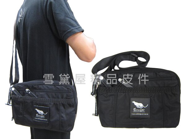 ~雪黛屋~Cougar肩側包小容量二層主袋休閒側背專櫃進口防水水晶布材質隨身物品中性款外出旅遊NCG7114