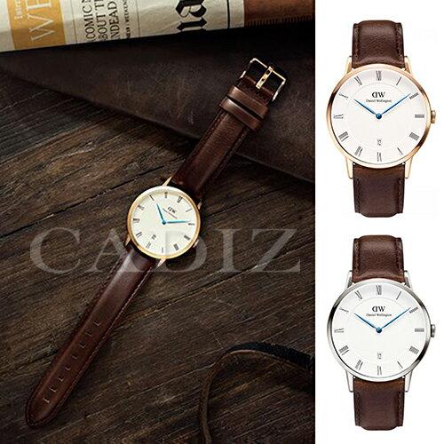 【Cadiz】瑞典正品 Daniel Wellington DW錶  1103DW金1123DW銀 Dapper Bristol 3.8MM 深棕色皮革 羅馬藍色指針日期窗 新款 對錶 情侶錶 男女錶  [代購/ 現貨]  男生聖誕交換禮物 1