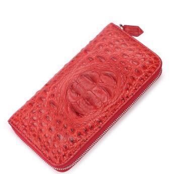 2005A紅色頭骨款鱷魚皮包泰國鱷魚皮手拿包女士長款真皮手包錢包手抓包