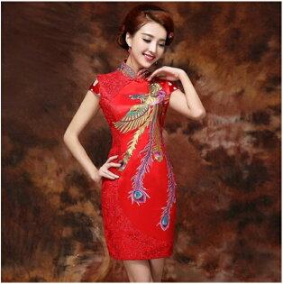 天使嫁衣【CQ8037】紅色織錦緞剌繡包臀短款旗袍禮服˙預購客製款
