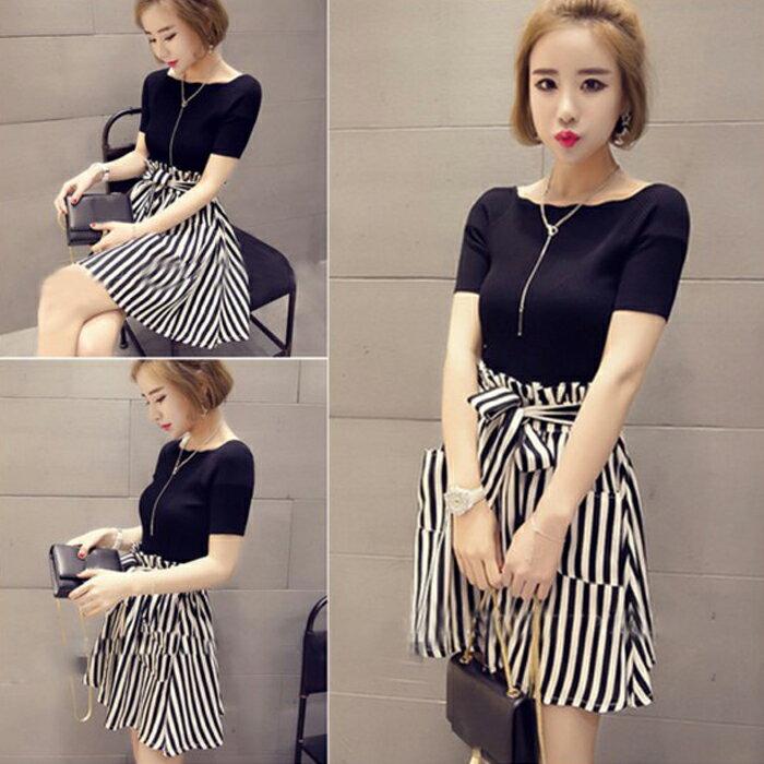 糖衣子輕鬆購【HY6818】韓版時尚一字領針織衫+高腰繫帶條紋裙套裝