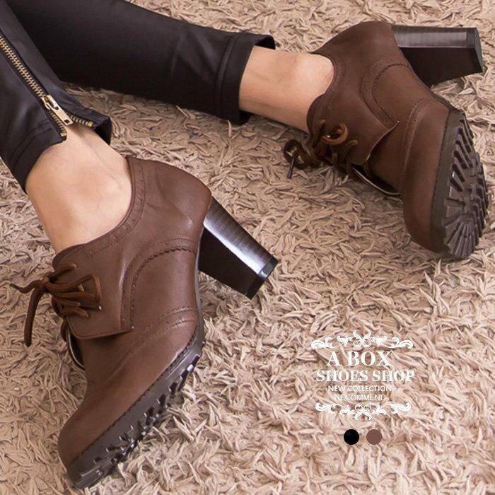 【KW3365】MIT台灣製 韓版摩登皮革英倫雕花 綁帶式6CM粗跟超舒適短靴踝靴 2色