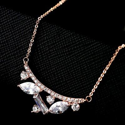 ~純銀項鍊 鍍18K金鑲鑽吊墜~端莊秀氣耀眼生日情人節 女飾品73dn64~ ~~米蘭 ~