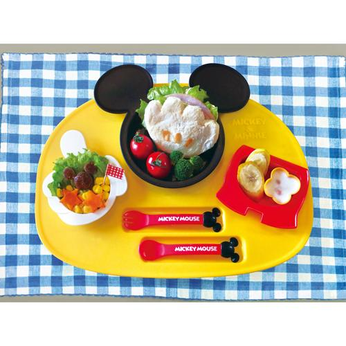 【領券現折50★折扣後$449】日本製 錦化成 迪士尼 米奇造型食物餐盤連碗杯套裝 6件組 兒童餐具*夏日微風*