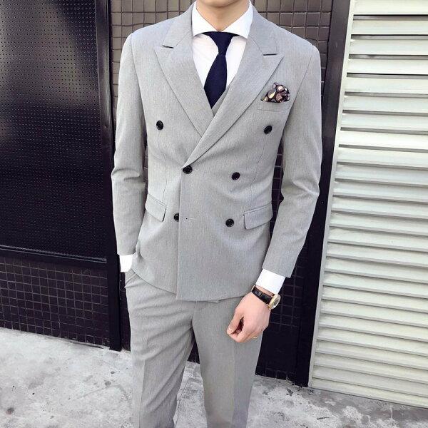FINDSENSEH1經典紳士雙排扣純色經典設計修身高品質西服馬甲西褲三件套裝