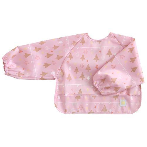 【日本Hoppetta】花語森林長袖餐圍兜(粉紅)