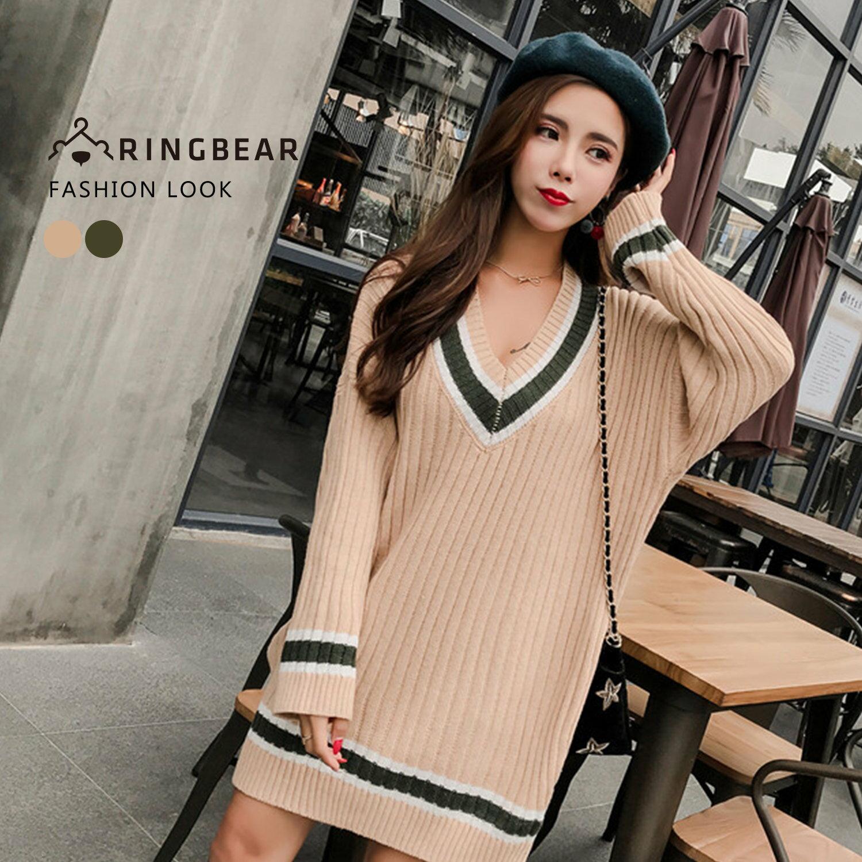 針織毛衣--保暖氣質典雅線條V領優雅連袖羅紋針織上衣(綠.杏XL-3L)-X275眼圈熊中大尺碼 0