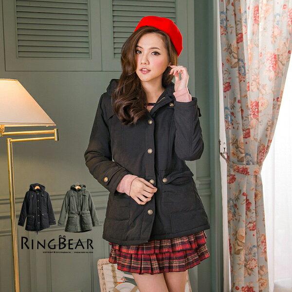 外套--厚實而保暖風衣式連帽造型釦附腰帶鋪棉長版外套(黑.綠M-2L)-J204眼圈熊中大尺碼 - 限時優惠好康折扣