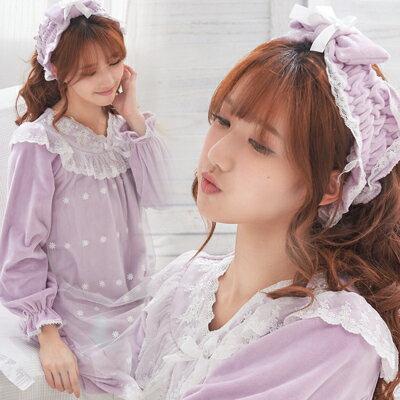 (外單少量)雙層絨毛~天鵝絨睡裙-兩件組~睡裙+髮帶-2色