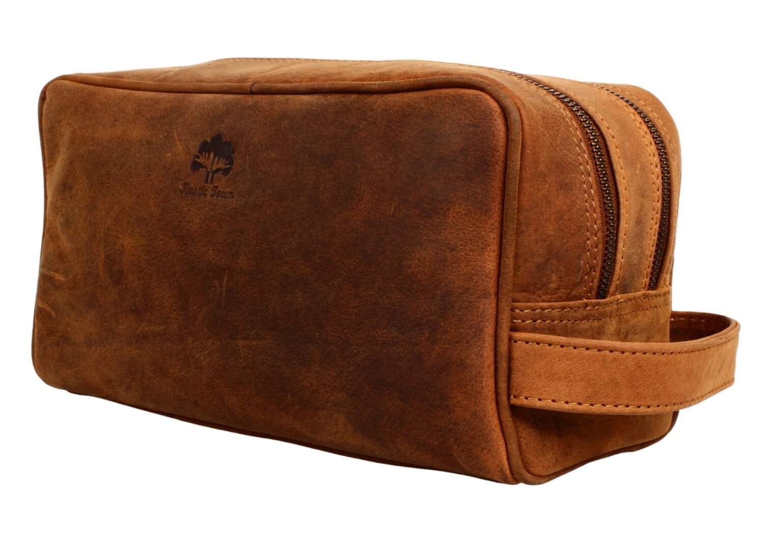 9e1cbf2093fc Genuine Leather Travel Toiletry Bag - Dopp Kit Organizer By Rustic Town  (Brown) 0