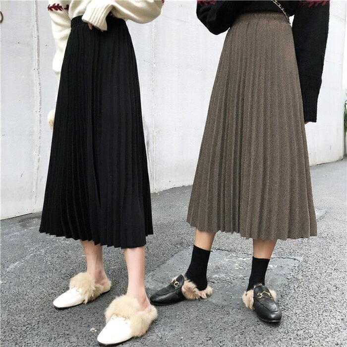 針織半身裙女春秋年新款韓版高腰顯瘦中長款純色A字百褶裙子