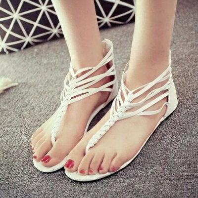 平底鞋編織羅馬涼鞋~波希米亞風 優雅 女鞋子2色73ey20~ ~~米蘭 ~
