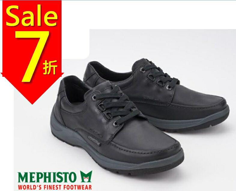 【全店點數15倍送】Mephisto 法國工藝皮革綁帶休閒鞋 黑 0