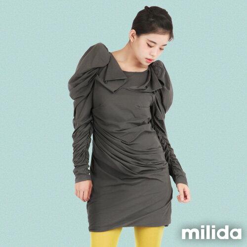 【Milida,全店七折免運】-秋冬單品-洋裝款-造型墊肩設計