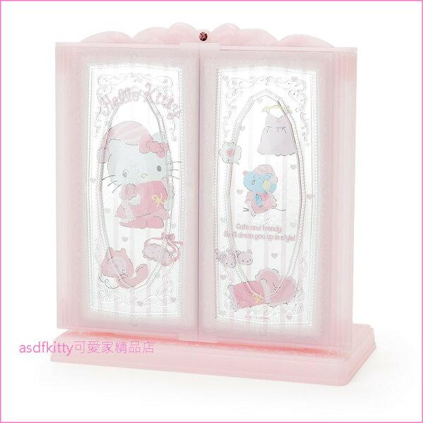asdfkitty可愛家☆KITTY桌上型三面鏡立鏡化妝鏡桌鏡-日本正版商品