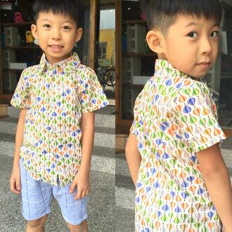 【班比納精品童裝】滿版熱汽球短袖襯衫-杏【BO160304015】