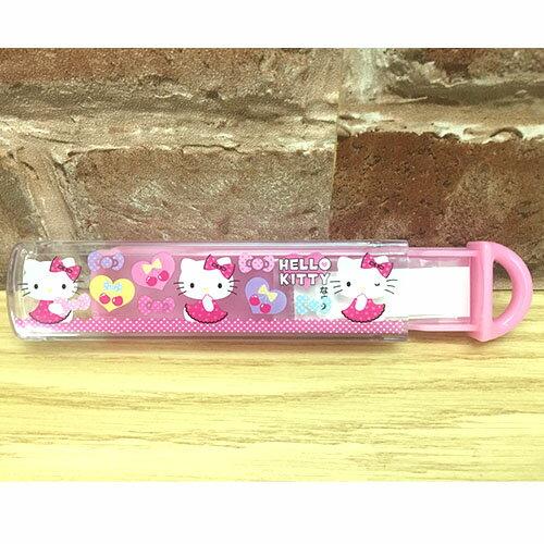 【真愛日本】17041600002 日本製餐具收納盒-KT櫻桃粉 三麗鷗 Hello Kitty 凱蒂貓 餐具收納