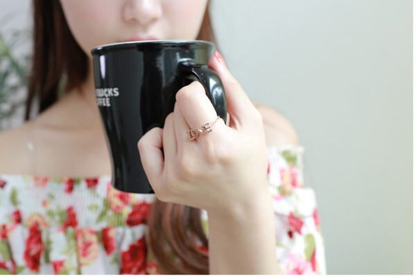 【櫻桃飾品】Love英文字鑲鑽戒指超商取貨貨到付款批發【20439】