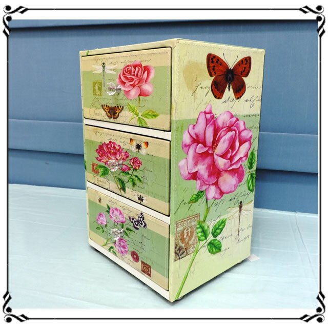 木製小斗櫃小3抽《LN4》鄉村風 玫瑰花三抽櫃 小型3抽櫃 皮革收納櫃 兒童玩具櫃 辦公室◤彩虹森林◥