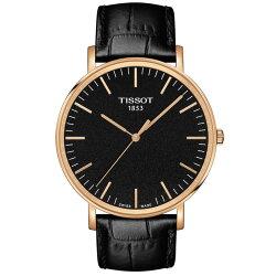 TISSOT 天梭表  T1096103605100  Everytime經典時尚紳士石英腕錶/黑+玫瑰金 42mm