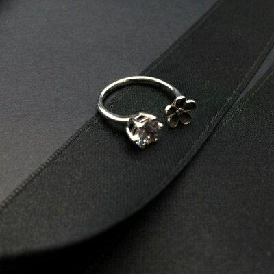 925純銀戒指鑲鑽銀飾-韓版流行閃耀花朵生日情人節禮物女飾品73ic23【獨家進口】【米蘭精品】