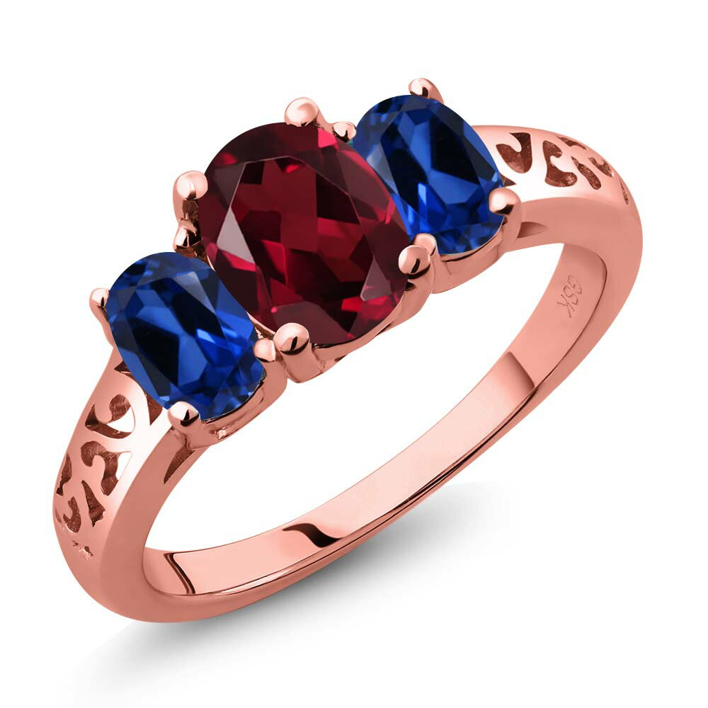 2.35 Ct Red Rhodolite Garnet Blue Simulated Sapphire 18K Rose Gold Plated Silver 3-Stone Ring 0