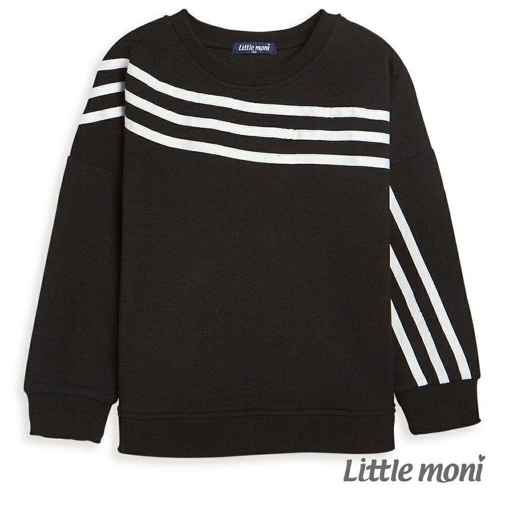 Little moni 條紋織帶上衣-黑色(好窩生活節) 0