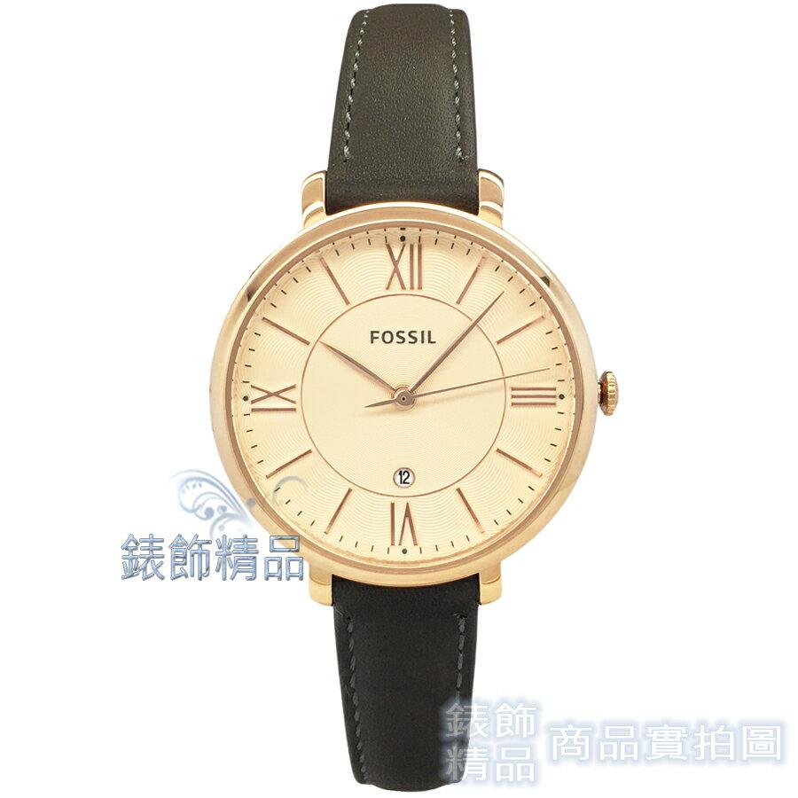 【錶飾精品】FOSSIL 手錶 ES3707 玫金面 玫金框 深灰色錶帶 36mm 女錶