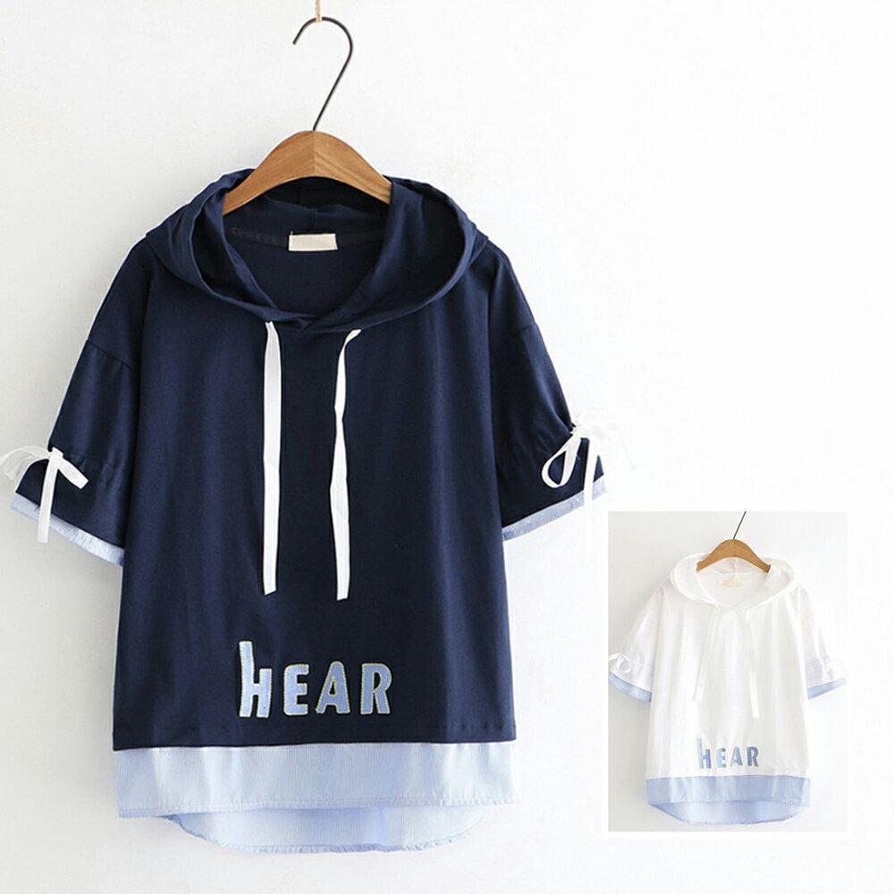 日系刺繡拼接條紋假兩件帽衫T恤上衣(2色M,L)*ORead*