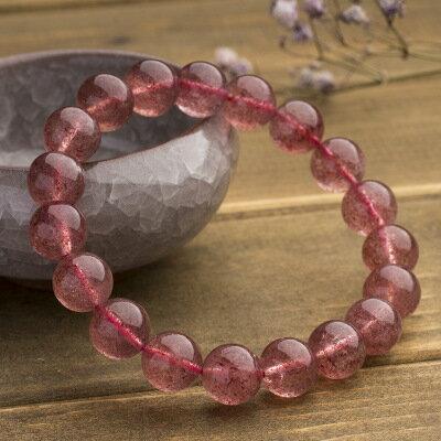 美琪新品天然粉紅水晶紅潤草莓晶手鏈手串時尚飾品配件