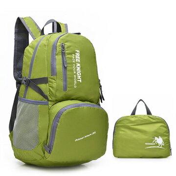 良林皮件:【FREEKNIGHT】35L歐風防水尼龍折疊收納包後背包(綠)FK0728GN