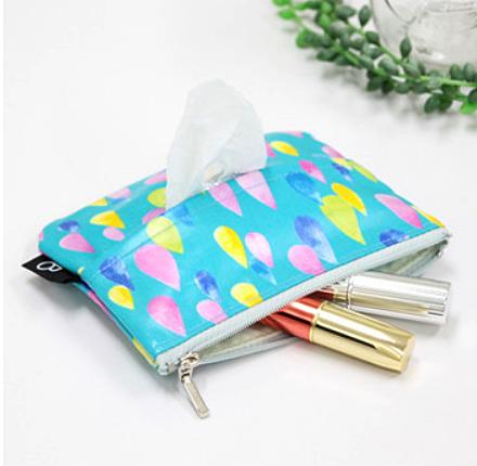 <br/><br/>  日本mimosa面紙包 零錢包 化妝包 (彩色雨滴) 100%日本製<br/><br/>