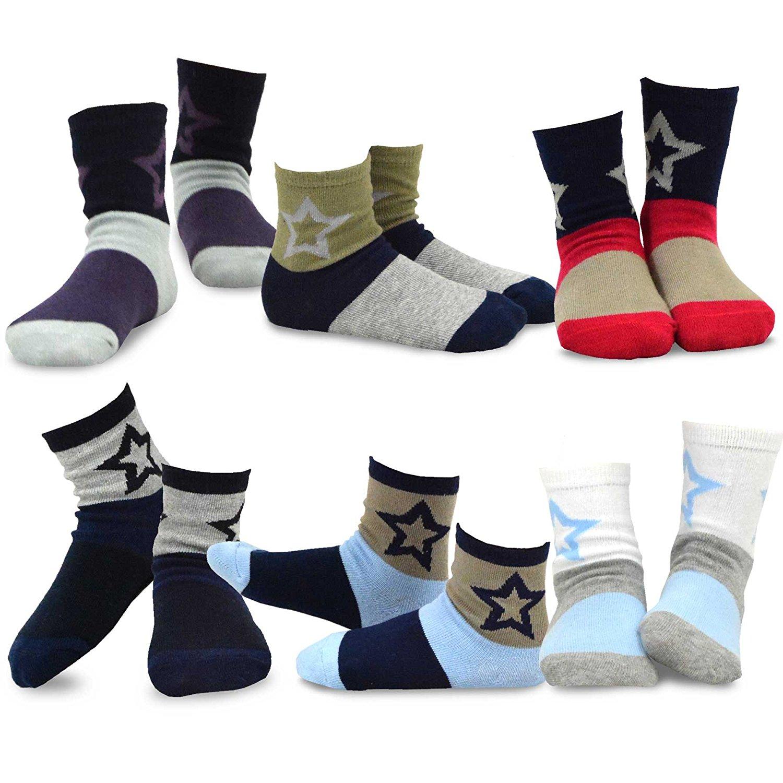bd7306ac259e TeeHee Kids Boys Fashion Fun Cotton Crew Socks 6 Pair Pack (Big Star)