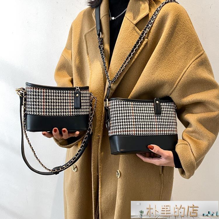 斜挎包 網紅時尚水桶包爆款小包包女2021新款潮高級鏈條包質感單肩斜挎包
