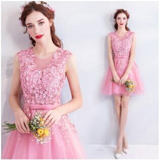 天使嫁衣【AE1101】粉色無袖滿版珠花收腰俏皮短禮服˙預購訂製款