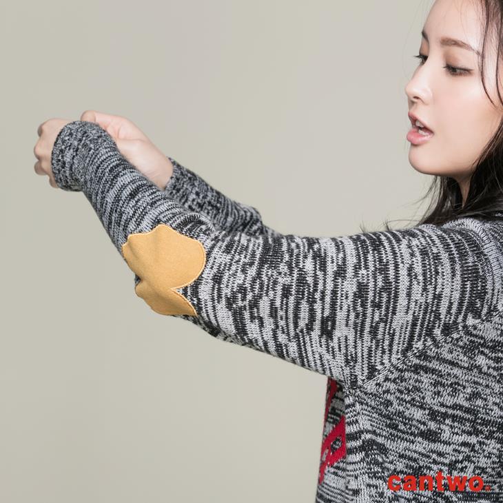 cantwo簡約字母長版針織上衣(共三色) 5