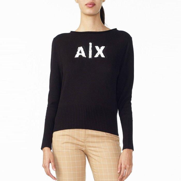 美國百分百【全新真品】Armani Exchange 長袖 AX 亮片 針織衫 女裝 上衣 線衫 毛衣 黑色 H703