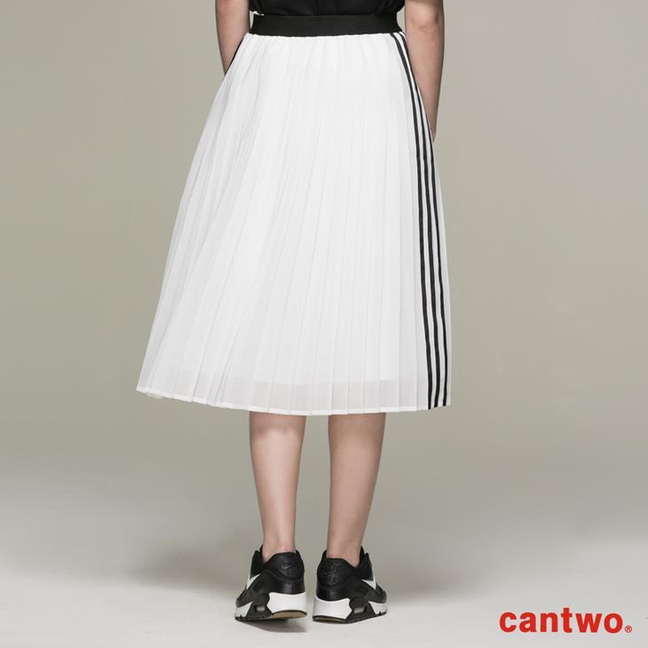 cantwo運動風側條百褶裙(共二色) 2