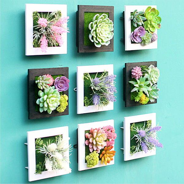 PS Mall 3D立體仿真多肉植物人造草盆栽牆飾掛飾 相框壁飾 壁掛【J649】
