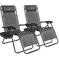 Best Choice Products Set of 2 Zero Gravity Chairs w/ Cup Holders - Heathered Gray