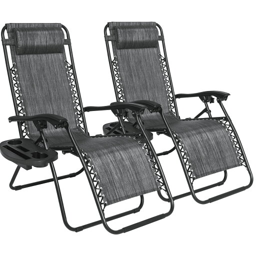 Best Choice Products Set of 2 Zero Gravity Chairs w/ Cup Holders - Heathered Gray 0a8b24dc96e5aad46a207e6c595562de