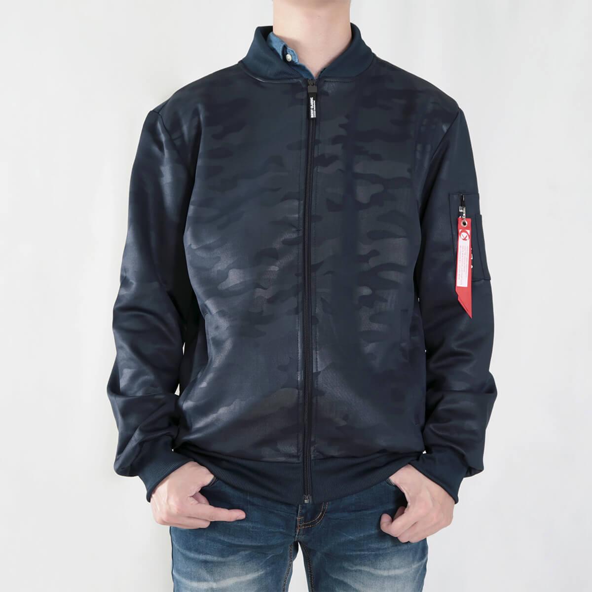 韓版迷彩飛行夾克 MA-1飛行外套 迷彩外套 空軍外套 輕量單層薄外套 MA-1 CAMOUFLAGE FLIGHT JACKET (321-8917-01)深藍色、(321-8917-02)黑色 3L 4L(胸圍48~51英吋) [實體店面保障] sun-e 5
