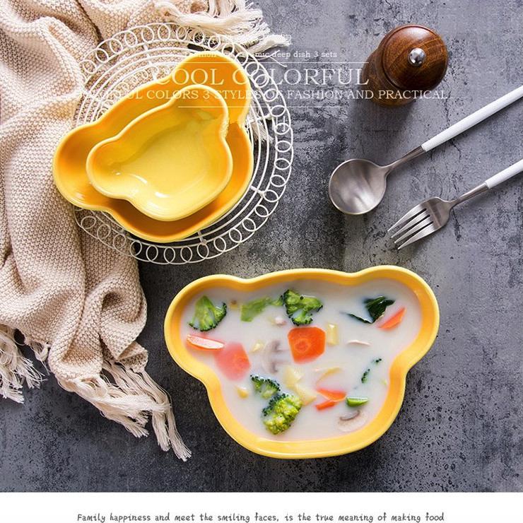 | | 下殺 漸層小熊深盤 漸層小熊盤 3件組|5色 3款|午茶 蛋糕盤 陶瓷餐盤