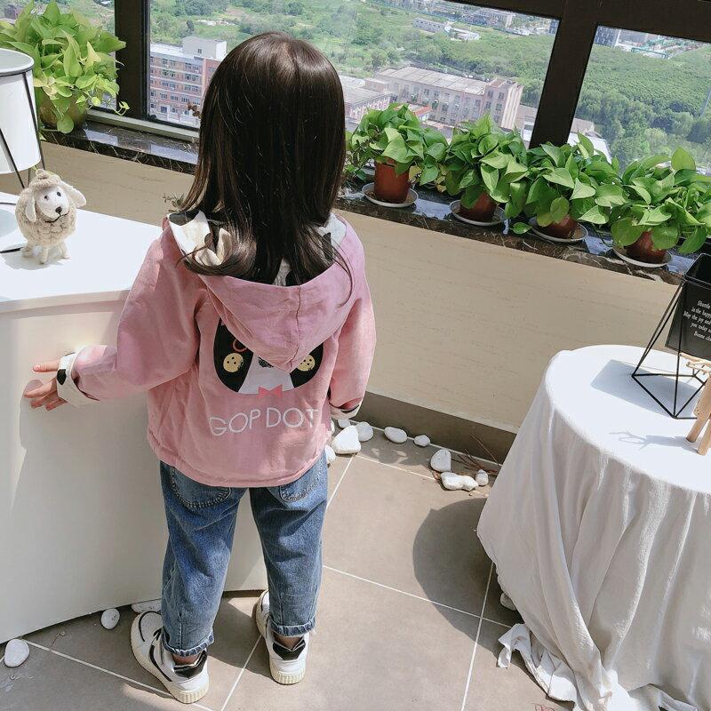 童裝2019春秋季新款女童寶寶拉鏈連帽外套中小兒童兩面穿開衫上衣1入