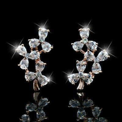 玫瑰金耳環鑲鑽純銀耳飾~優美氣質華麗璀璨生日情人節 女飾品73hz66~ ~~米蘭 ~