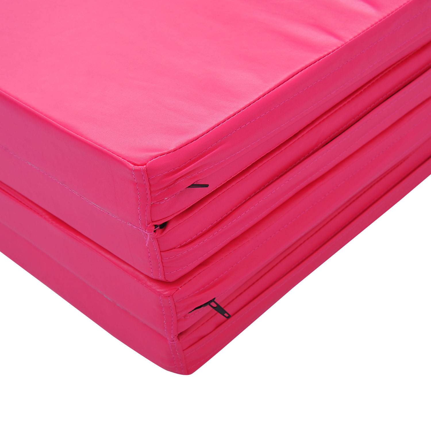 "Soozier 10' x 4' x 2"" PU Leather Folding Gymnastics Tumbling / Martial Arts Mat with Handles - Pink 4"