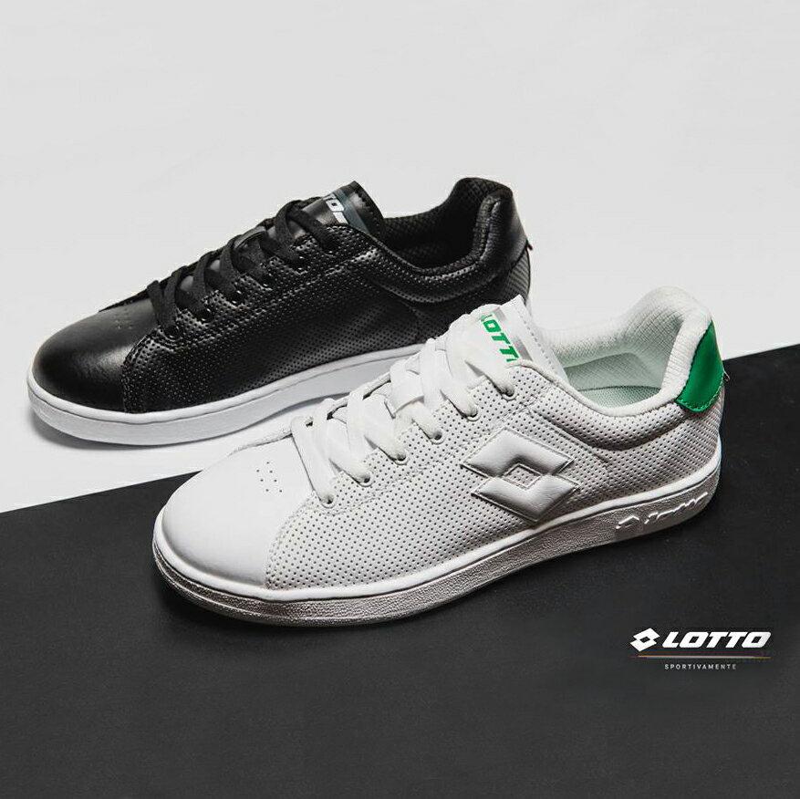 【巷子屋】義大利第一品牌-LOTTO樂得 男款1973經典休閒室內網球鞋 [6660黑 6665白綠] 超值價$952免運