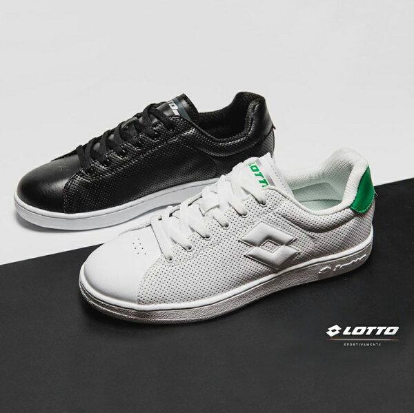 【巷子屋】義大利第一品牌-LOTTO樂得男款1973經典休閒室內網球鞋[6660黑6665白綠]超值價$952免運