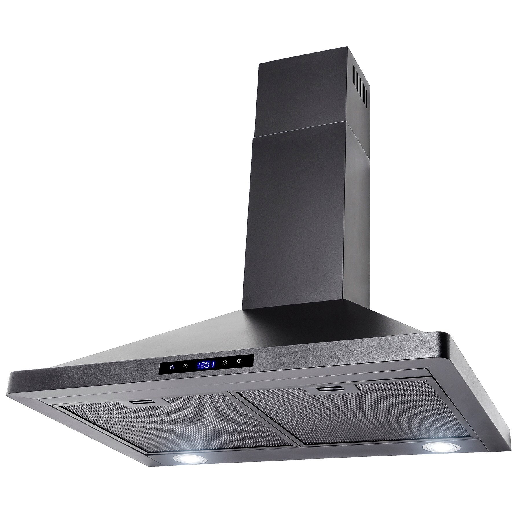 "AKDY 30"" Wall Mount Black Finish Stainless Steel Touch Control Panel Kitchen Range Hood Cooking Fan 2"